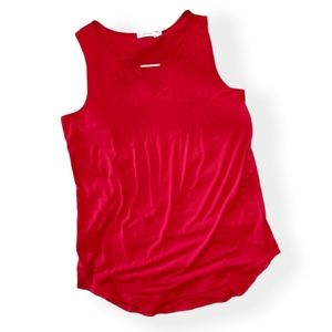 Red Long Tunic Blouse Tank Top
